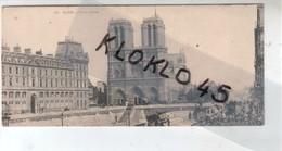 75 PARIS - Notre Dame - Animé  Vue Tramway Un étage Pour MONTROUGE  -  Publicité Au Dos CHOCOLAT VINAY - CPA Mignonette - Notre Dame De Paris
