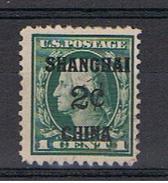 CINA:  1919  UFFICI  U.S.A. DI  SHANGHAI -  SOPRASTAMPATO  2c./1c. VERDE  S.G. - YV./TELL. 1 - Chine