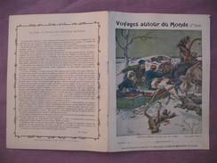Protège Cahier Illustré Vers 1900 / Voyages Autour Du Monde - Courrier Sibérien Attaqué Par Des Loups - Transport