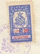 Urbino. 1962. Marca Municipale Diritti D'urgenza L. 20, Su Certificato Di Nascita. - Otros