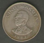 CONGO 5 MAKUTA 1967 - Congo (Repubblica Democratica 1964-70)