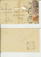 South Kensington (London) - Florence (Italy). Cover 03/01/1899 Travelled To Firenze - Marcophilie