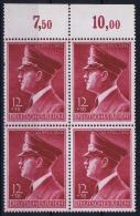 Deutsche Reich:  Mi Nr 813 MNH/**/postfrisch/neuf Sans Charniere 1942 Bogenrand In 4-Block - Ungebraucht