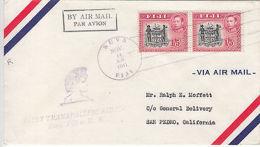 Fiji: GVI, First Transpacific Airmail, 1/5d Pair, Suva-San Pedro, 14 Nov 1941 - Fiji (...-1970)