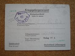 Lettre De Réponse En Franchise Militaire Prisonnier De Guerre Stalag IV A Lazareit 1941 - Marcophilie (Lettres)