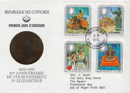 Postal History Cover: Comores QEII Coronation Anniversary Set On Used FDC - Case Reali