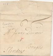 859/24 - Lettre Précurseur - Incoming Mail - LONDON UK 1732 Vers BRUGES - Verso Bishop Mark De Départ MT Dans Un Cercle - 1714-1794 (Austrian Netherlands)