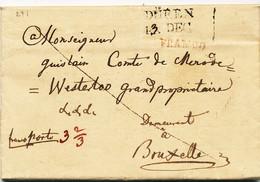 860/24 - Lettre Précurseur - Incoming Mail - DUREN Franco (Allemagne) 1819 Vers BRUXELLES - Comte De Mérode Westerloo - 1815-1830 (Periodo Olandese)