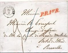 861/24 - Lettre Non Affranchie LANGERWEHE (Allemagne) 1852 Vers BRUXELLES - Comte De Mérode Westerloo - Storia Postale