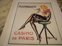 ANCIENNE PUBLICITE ART DECO CASINO DE PARIS MISTINGUETT DE CHARLES GESMAR 1922 - Publicité