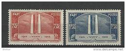 "FR YT 316 & 317 "" Monument De Vimy "" 1936 Neuf* - France"
