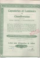 ACTION SANS DESIGNATION DE VALEUR - CAPSULERIES ET LAMINOIRS DE CHAUDFONTAINE -BELGIQUE -1921 - Actions & Titres