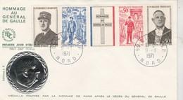 Yvert 1698A Bande Hommage Au Général De Gaulle Avec Médaille Argent Lille 9/11/1971 FDC - De Gaulle (Général)