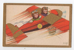 Illustration Enfants Avion Doré - Fantasie