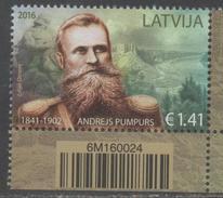 LATVIA,  2016, MNH,ANDRESJ PUMPURS , POETS, FIGHTERS,1v - Ecrivains