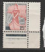 FRANCE N° 1216 25F VERT MARIANNE A LA NEF GRIS ET ROUGE GRIS CLAIR ET ROUGE CLAIR NEUF SANS CHARNIERE