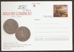 Portugal Carte Entier Postal Ecole Du Commerce Marquis De Pombal Illuminisme 2009 Postal Stationary Commercial School - Ganzsachen