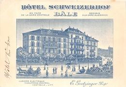 SUISSE  - BALE - Carte Publicitaire De L'Hôtel Schweizerhof En 1901 - E. Goetzinger , Propriétaire  -  Illustrateur - BS Bâle-Ville