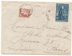1930 OMSLAG MET COB304 V. BRUSSEL N. PARIJS MET FRANSE TAXE33(Y&T) - Postage Due