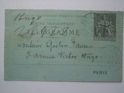 FRANCE 1892 TELEGRAMME PARIS PROVENCE MARK TO AVENUE VICTOR HUGO - 1876-1898 Sage (Type II)