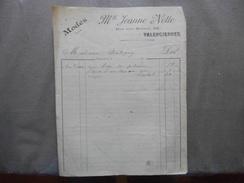 VALENCIENNES Mlle JEANNE NOTTE MODES RUE DES ANGES 34 FACTURE D'AVRIL 1910 - France