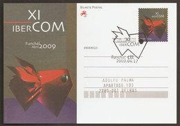Portugal Entier Postale Ibercom Funchal Congrès Ibéro-américain Communication Cachet Premier Jour 2009 Postal Stationery - Telecom