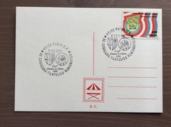 Cartoncino Retro Cartolina Annullo XX Convegno Filatelico Numismatico Parma In UEFA 1991 Parma 8-12-1991 - Fútbol