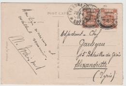 Jud035 / Brief,  Jerusalem 1922. Zum Franz. Militär  P.A. In Alexandrette (Syrien). Ansichtskarte Grabstätte Lazarus - Palestine