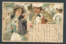Anonyme.  Chromolitho Art-Nouveau.  Scène Romantique. Femmes, Mode, élégance. - 1900-1949