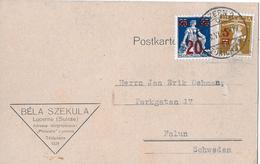 1915 - 1930 AUFBRAUCHSAUSGABEN → Seltene Postkarte Von LUZERN Nach FALUN  ►SBK-147&151◄ - Suisse