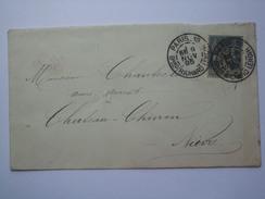 FRANCE 1895 SAGE II COVER PARIS BOULEVARD RICHARD LENOIR POSTMARKS TO CHATEAU CHINON - 1876-1898 Sage (Type II)