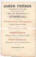 Ancienne Carte De Visite Jager Frères à Saint Denis (93) Constructions Métalliques, Ferronerie D'Art, Serrurerie - Cartes De Visite