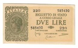 Italy 2 Lire 1944 Bolaffi Cavallaro Giovinco XF+/AUNC - SPL/FDS .L. - [ 1] …-1946 : Koninkrijk