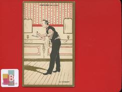 Comprimés De Vichy Sierra Leone Petit Jolie Chromo Doré Barbier Métier Coiffeur Salon De Coiffure - Trade Cards