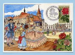 France Oblitération Roses Sur Carte Saverne 21-06-1998 - Rose