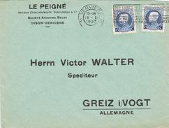 20824. Carta VERVIERS (Belgien)  1927. Comercial Le PEIGNÉ - Bélgica