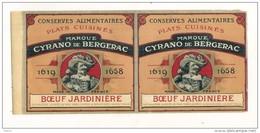 étiquette Double Sortie Imp -Boeuf Jardiniere Cyrano De BERGERAC  - Modele Parfiné  - Chromo Litho  XIXeime 25x11cm  - - Fruits Et Légumes