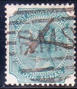INDIA 1866 SG #71 4a Used Wmk Elephants´ Head Blue-green Die II - India (...-1947)