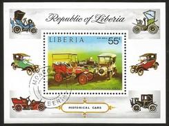 J)1973 LIBERIA, CLASSIC AUTOMOBILES FRANKLIN SOUVENIR SHEET, CANCELLED MNH - Liberia