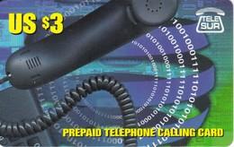 TARJETA DE SURINAM DE $3 DE UN TELEFONO (TELE SUR)