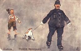 "Lance Thackeray : Humorous Series  -  Policeman Dragging Away A Small Dog : ""Passive Resistance"". - Humor"
