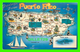 MAP - GREETINGS FROM PUERTO RICO - CARTE GÉOGRAPHIQUE - TRAVEL IN 1964 - - Cartes Géographiques
