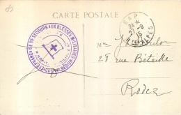 GAP CACHET SOCIETE FRANCAISE DE SECOURS AUX BLESSES MILITAIRES 14e REGION HOPITAL AUXILIAIRE CROIX ROUGE 2 SCANS - Postmark Collection (Covers)