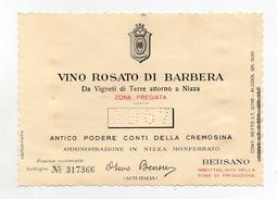 Vino Rosato Di Barbera - 1967 - Antico Podere Conti Della Cremosina - Nizza Monferrato (Asti) - (FDC2452) - Vino Rosato