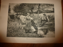Années 1920-30 Gravure Romantique PRES DE LA MARRE,Jeune Homme Courtisant La Gardienne De Vaches ,hors-tout 49cm X 34cm - Vieux Papiers