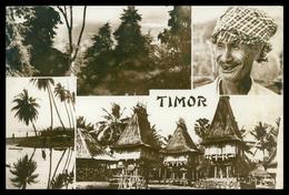 TIMOR - Paísagem Timorense; Catatuas;Espelho Timorense;Casas De Lospalos.( Ed. Tjing Fa Ho Nº 13)  Carte Postale - East Timor