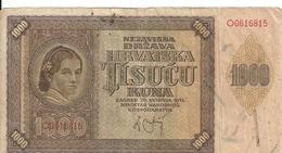 CROATIE 1000 KUNA 1941 VF P 4 - Croatia