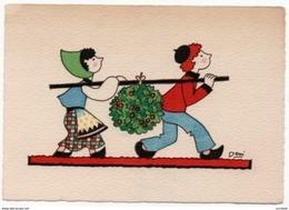 Enfants Portant Boule De Houx Carte Barré Dayez Dessin Deni 1947 état Superbe - Alberi