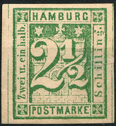 Stamp German States  Hamburg 1864 2 1/2s Imperf Mint Lot#64 - Hamburg