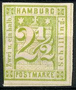 Stamp German States  Hamburg 1864 2 1/2s Imperf Mint Lot#75 - Hamburg